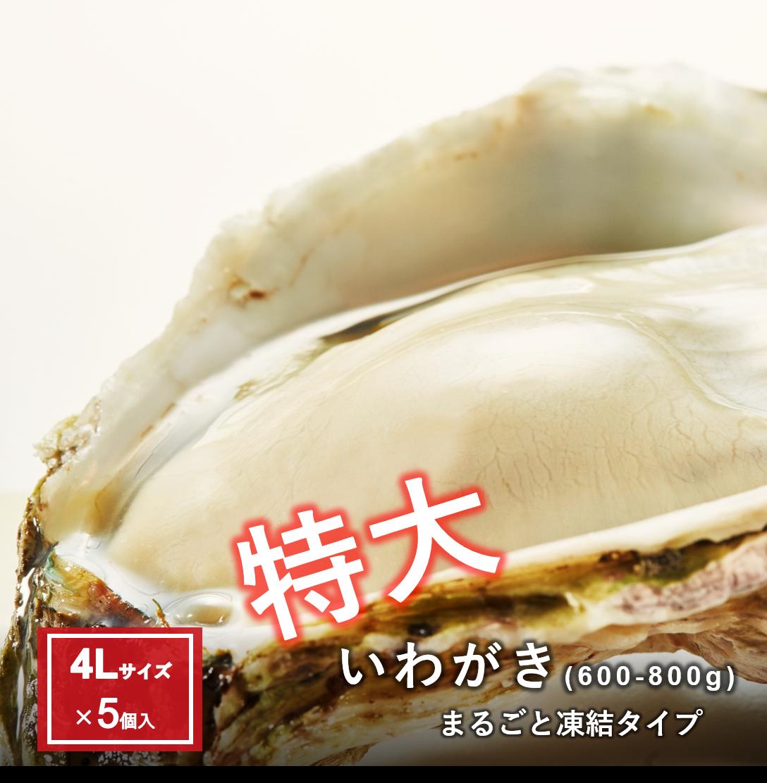【おまけ岩牡蠣+S1個】特大いわがき丸ごと凍結4Lサイズ5個セット